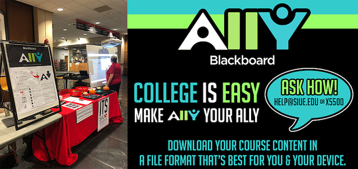"Ally sign with list of alternative formats perched on red table cloth with swag next to glowing touch-screen. Sign says ""College is Easy, make Ally your ally."""
